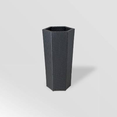 Hexagonal Resin Wicker Vista Planter Gray - DMC Products