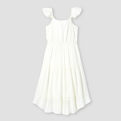 Girls' Ruffle Sleeve A-Line Midi Dress - art class™ White