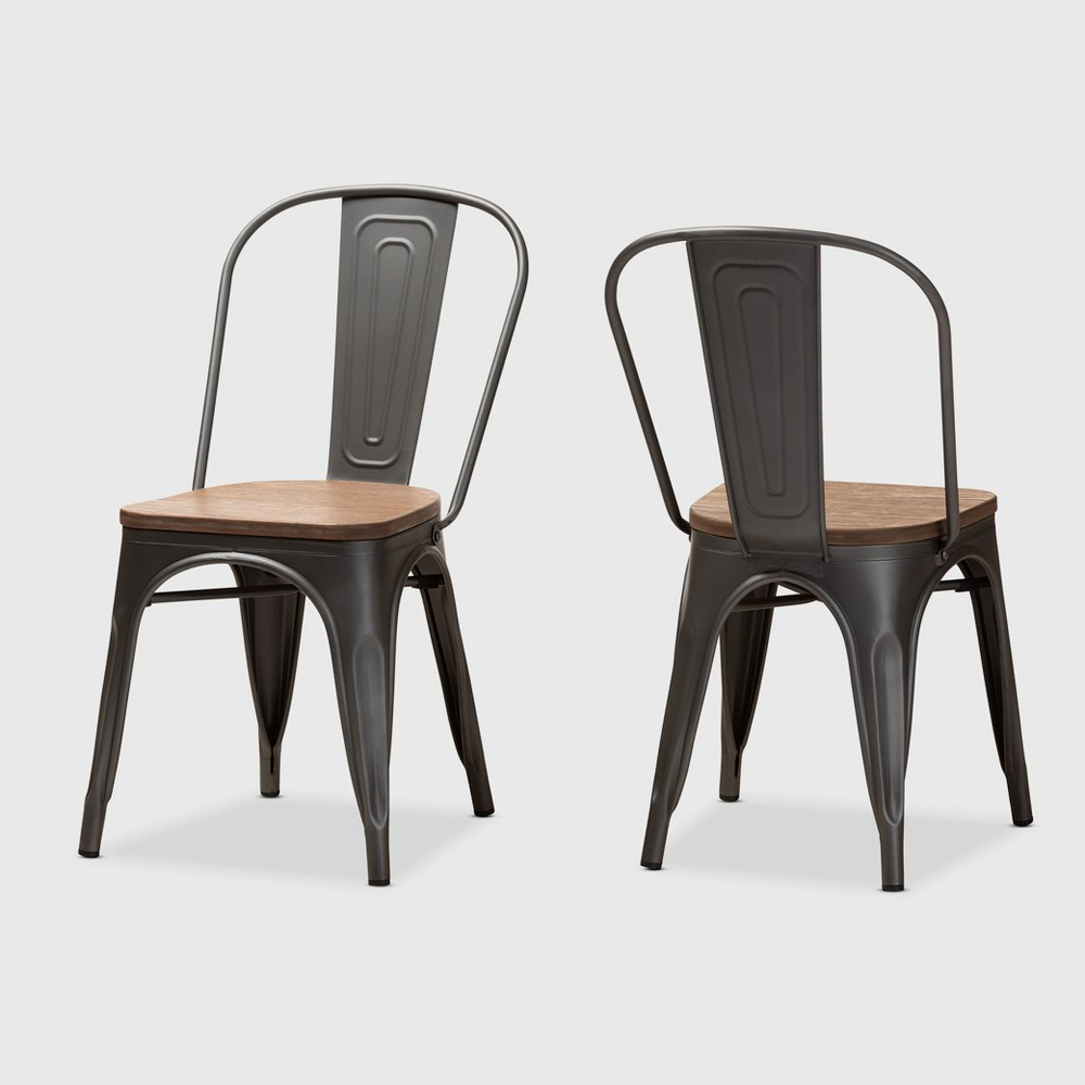 Set of 2 Henri Tolix Finished Steel Stackable Dining Chairs Brown - BaxtonStudio Promos