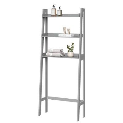 Over Toilet Space Saver with Tiered Ladder Shelves Gray - RiverRidge Home