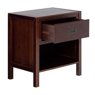 Single Drawer Classic Bedside Table Nightstand Walnut - Saracina Home