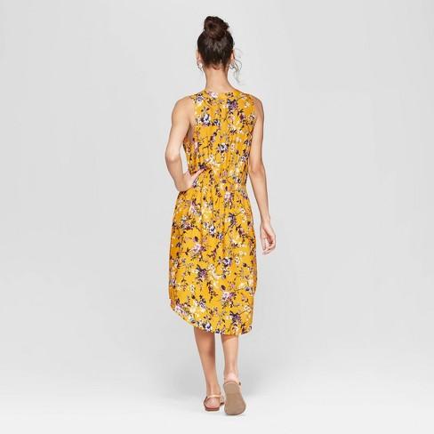 e725559d01 Women s Floral Print Sleeveless V-Neck Cinched Waist Midi Dress -  Xhilaration™ Mustard Yellow   Target