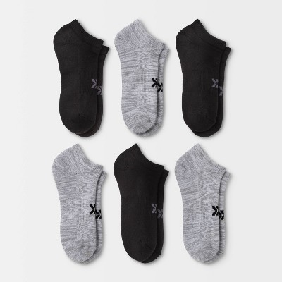 Women's Extended Size Cushioned 6pk Low Cut Athletic Socks - All in Motion™ - Heather Gray/Black 8-12