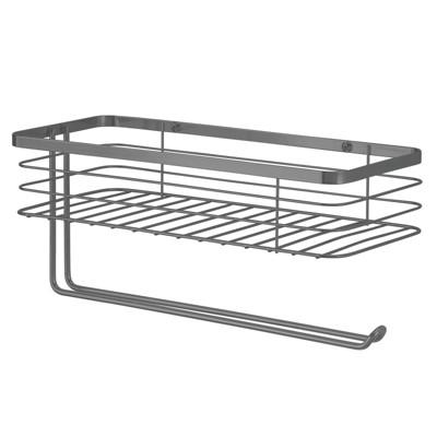 mDesign Metal Wall Mount Paper Towel Holder & Spice Rack Shelf