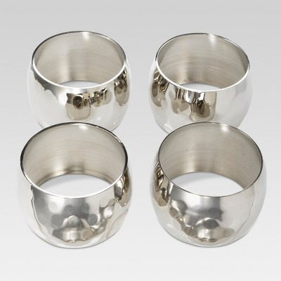 4ct Large Hammered Napkin Rings Silver - Threshold™