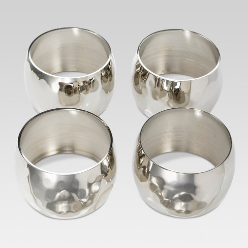 4ct Large Hammered Napkin Rings Silver - Threshold™ - image 1 of 1