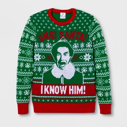 Mens Elf I Know Santa Long Sleeve Sweatshirt Green Light Target