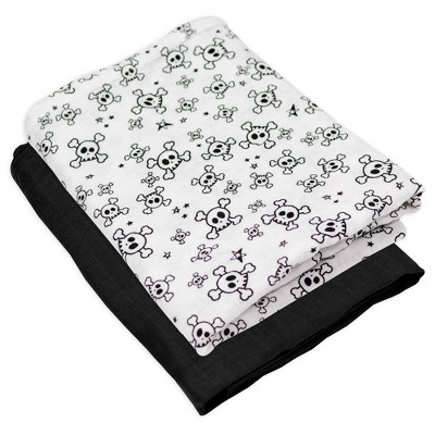 Honest Baby Organic Cotton Swaddle Blanket - Tossed Skulls 2pk