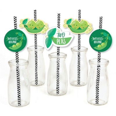 Big Dot of Happiness Double the Fun - Twins Two Peas in a Pod - Paper Straw Decor - Baby Shower or 1st Birthday Party Striped Decorative Straws -24 ct