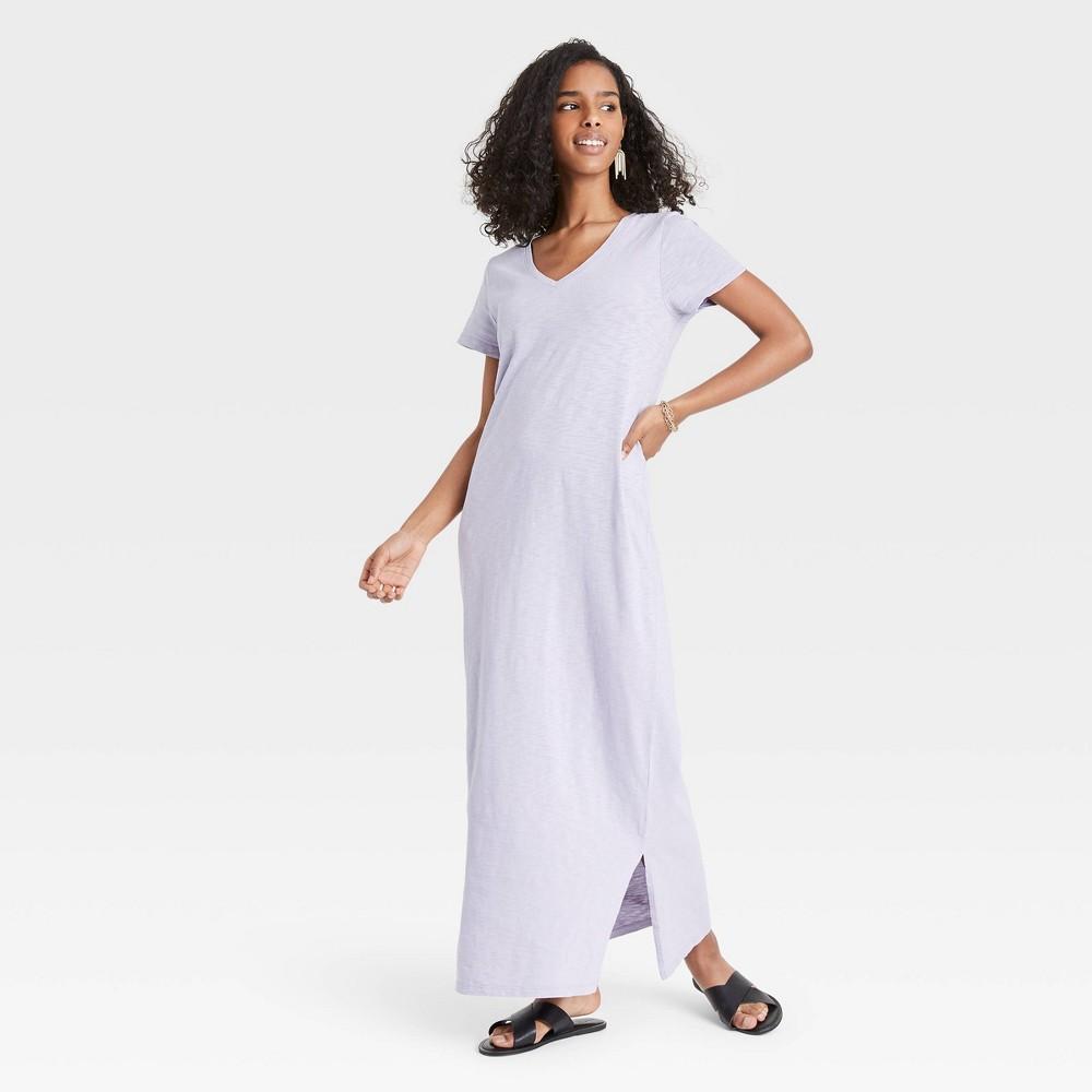 Women 39 S Short Sleeve T Shirt Dress Universal Thread 8482 Violet M