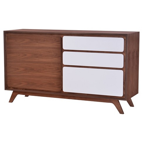 "Mid-Century Modern Distressed 59"" Buffet Cabinet - Walnut and White - ZM Home - image 1 of 5"