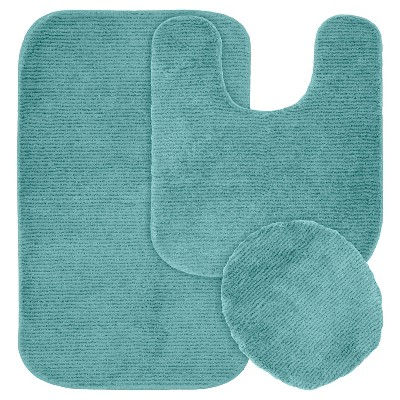 3pc Glamor Nylon Washable Bath Rug Set Sea Foam - Garland