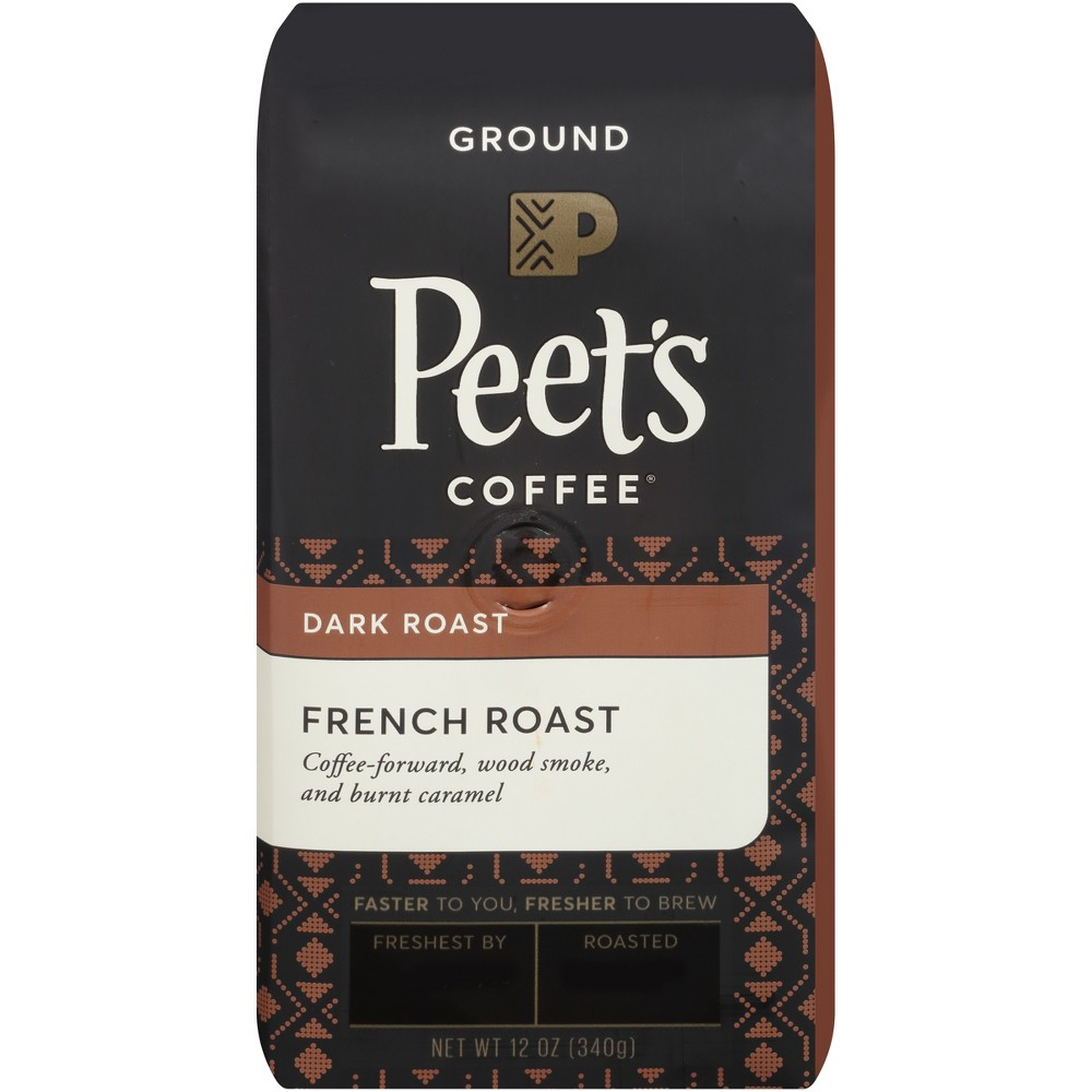 Peet's French Roast Dark Roast Ground Coffee - 12oz Start your day off right with a cup of Peet's French Deep Roast Ground Coffee. Pre-ground coffee boasts an added convenience that whole bean coffee doesn't — it comes ready to brew. Simply toss the grounds in your drip coffee maker, espresso machine or whatever your preferred brewing method is, and enjoy this French roast coffee with notes of caramel and wood smoke. Size: 12oz.