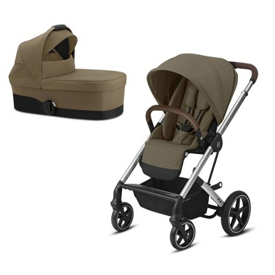 Cybex Balios S 4 In 1 Travel System All Terrain Sun Canopy Childrens Lux Stroller Bundle with Matching Canopy Bed for Baby, Classic Beige