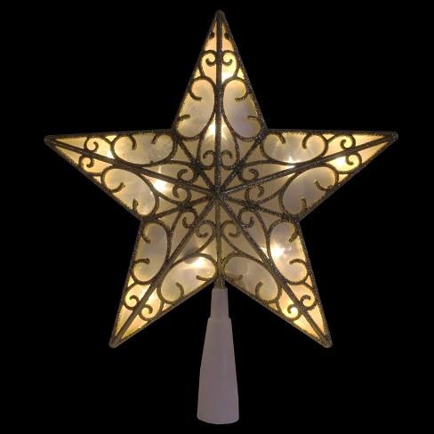 Northlight 9 Gold Glitter Star Led Christmas Tree Topper Warm White Lights Target