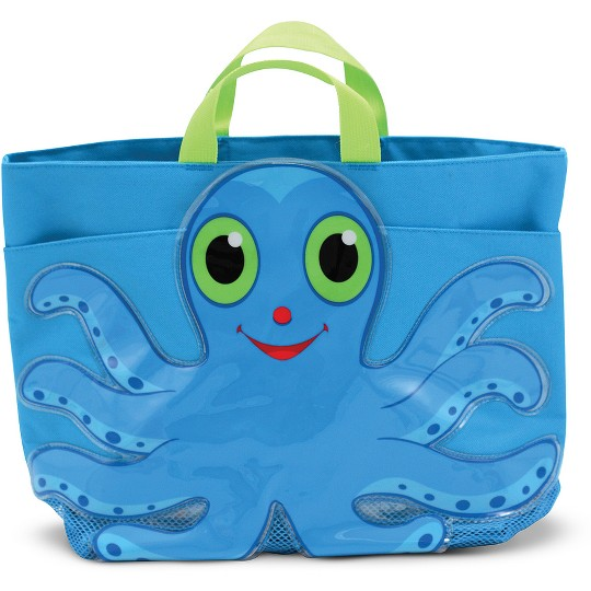 Melissa & Doug Double Handle East-West Octopus Beach Tote Bag with Mesh Panels, Adult Unisex image number null