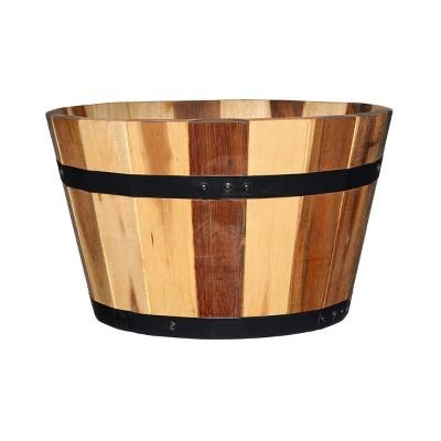 Set of 2 Acacia Whiskey Barrel Planter - Classic Home and Garden