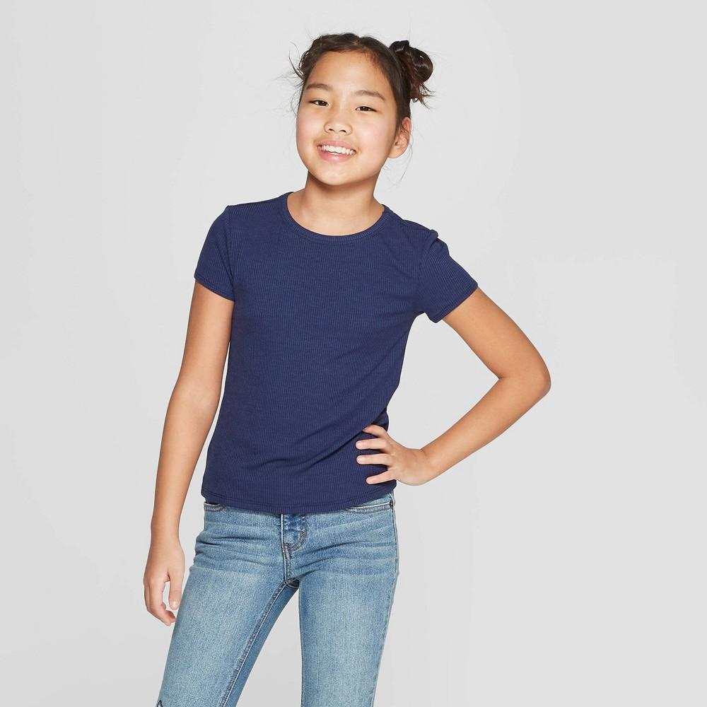 Girls' Rib Short Sleeve T-Shirt - art class Blue M
