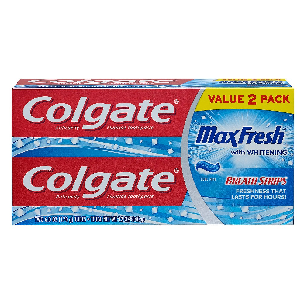 Image of Colgate Max Fresh Toothpaste with Mini Breath Strips - Cool Mint - 6oz/2pk