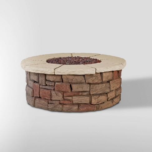 Sedona Round Gas Fire Table with Natural Gas Kit Beige - Real Flame - image 1 of 4