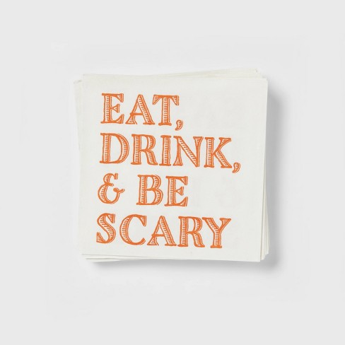 20ct Paper Eat, Drink and Be Scary Disposable Beverage Napkins - Threshold™ - image 1 of 3