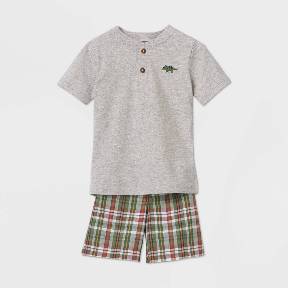 Toddler Boys 39 2pc Plaid Top 38 Bottom Set Just One You 174 Made By Carter 39 S Gray 3t