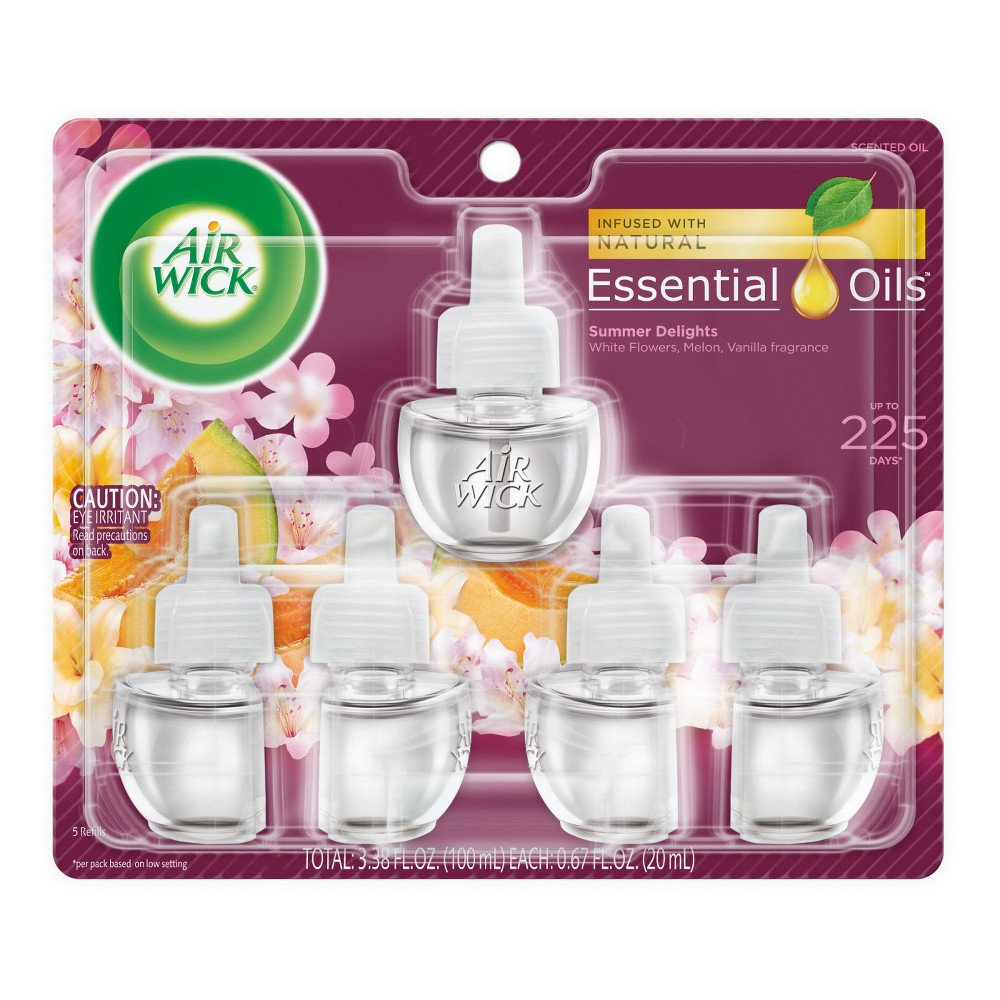 Image of Air Wick Scented Oil Summer Delights Air Freshener Refill - 5ct, Multi-Colored