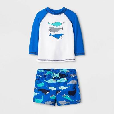 Baby Boys' Whales Long Sleeve Rash Guard - Cat & Jack™ Blue 3-6M