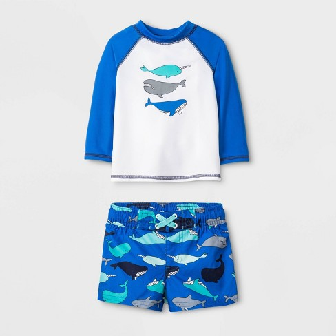 Baby Boys' Whales Long Sleeve Rash Guard - Cat & Jack™ Blue - image 1 of 1
