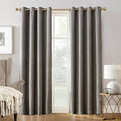 Sun Zero Manor Chenille Velvet 100% Extreme Blackout Grommet Curtain Panel Gray 52 x95