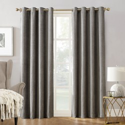 "Sun Zero Manor Chenille Velvet 100% Extreme Blackout Grommet Curtain Panel Gray 52""x63"""