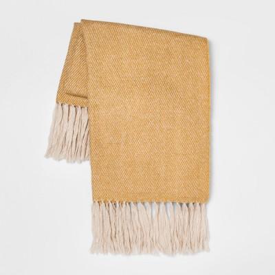 60 x50  Faux Mohair Twill Throw Blanket Gold - Threshold™