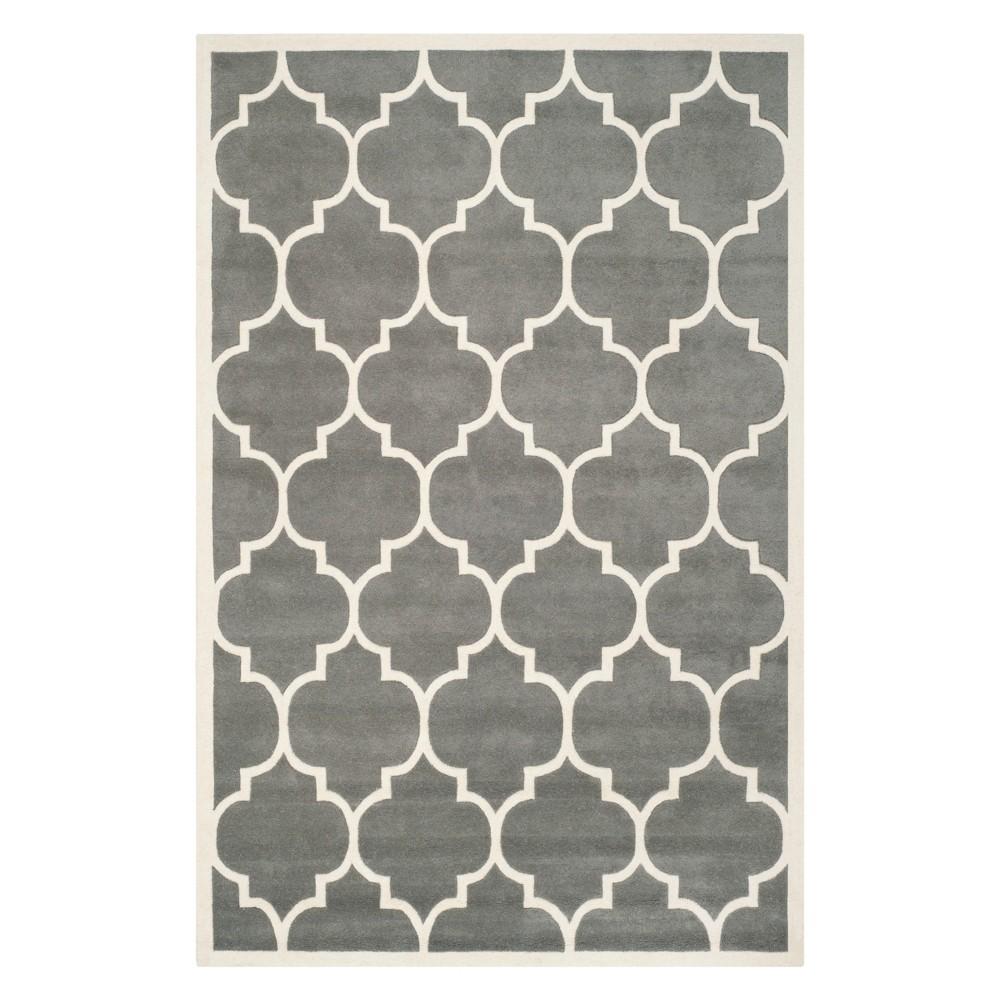 6'X9' Quatrefoil Design Tufted Area Rug Dark Gray/Ivory - Safavieh