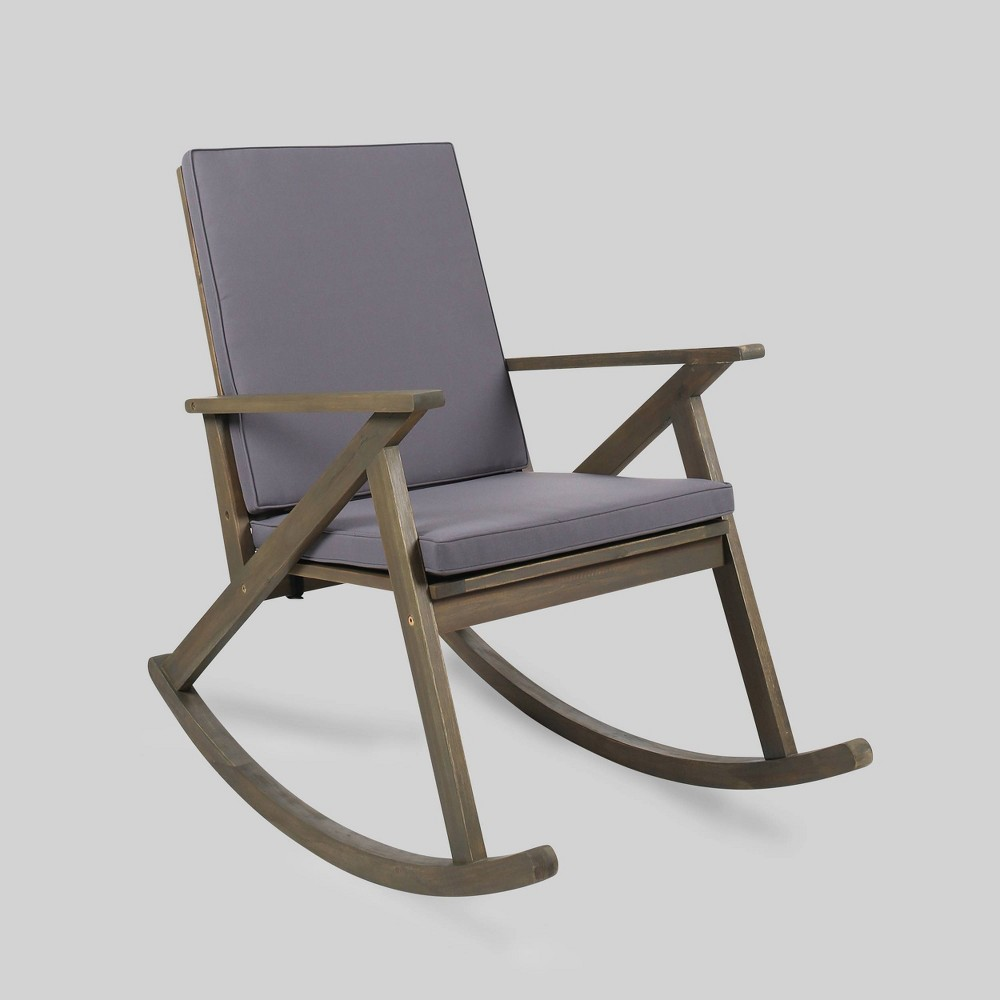 Gus Acacia Wood Patio Rocking Chair Gray Christopher Knight Home