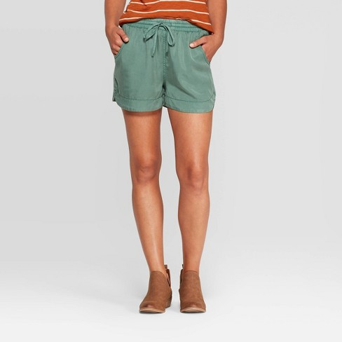 Women's Mid-Rise Pull-On Shorts - Universal Thread™ Green - image 1 of 3