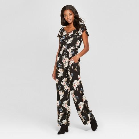 f6d55e006c6d Women s Floral Print Ruffle V-Neck Tie Front Jumpsuit - Xhilaration ...