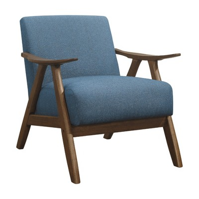 Lexicon Damala Collection Retro Inspired Wood Frame Accent Chair Seat with Polyester Fabric for Living Rooms and Offices, Blue