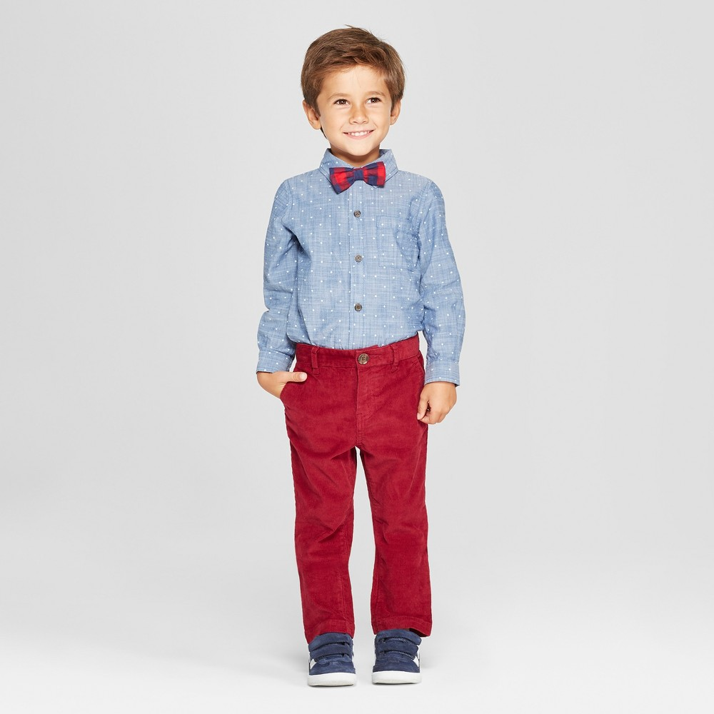 Toddler Boys' 3pc Polka Dot Shirt, Pants and Bow Tie Set - Cat & Jack Blue/Dark Red 3T