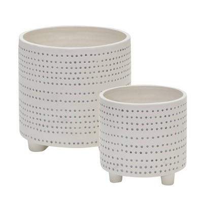Set of 2 Ceramic Footed Planter with Dots Ivory - Sagebrook Home