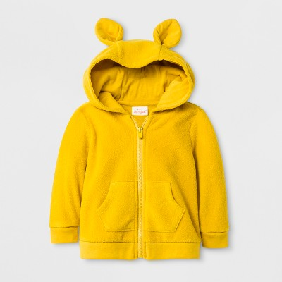 Baby Boys' Critter Microfleece Hooded Sweatshirt - Cat & Jack™ Yellow 0-3M