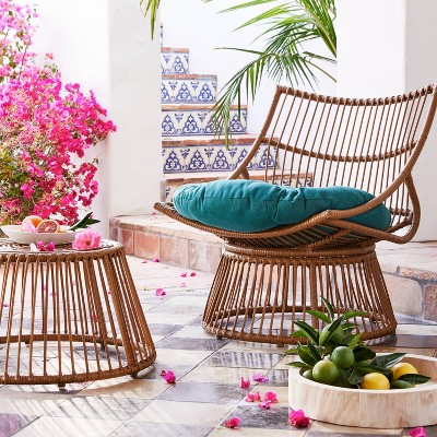 Borealis 2pc Patio Papasan Chair & Ottoman Set - Jade - Opalhouse™