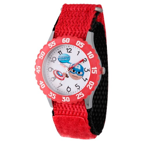 Boys' Marvel® Emoji Captain America Stainless Steel Time Teacher Watch - Red - image 1 of 2