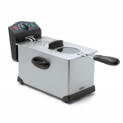 Salton 1700W Stainless Steel Deep Fryer 3 Liter Oil Capacity with Wire Basket, Detachable Windowed Lid, and Adjustable Temperature Control