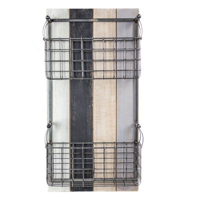 "24"" x 12"" x 6.3"" Double Pocket Wire Metal & Wood Wall Storage Basket & Mail Organizer - American Art Decor"