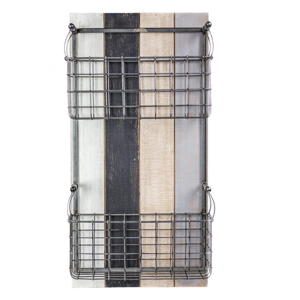 24 34 X 12 34 X 6 3 34 Double Pocket Wire Metal 38 Wood Wall Storage Basket 38 Mail Organizer American Art Decor