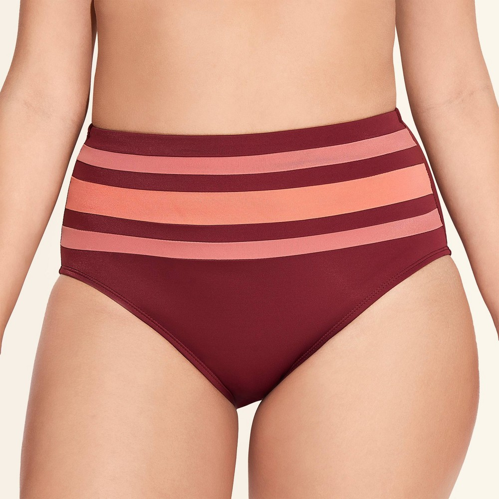 Women's Slimming Control High Waist Bikini Bottom - Beach Betty By Miracle Brands Maroon Colorblock XL, Red