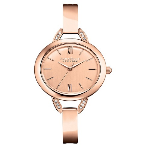 Caravelle New York by Bulova Women's Rose Gold-Tone Stainless Steel Bangle Bracelet Watch - 44L133 - image 1 of 1