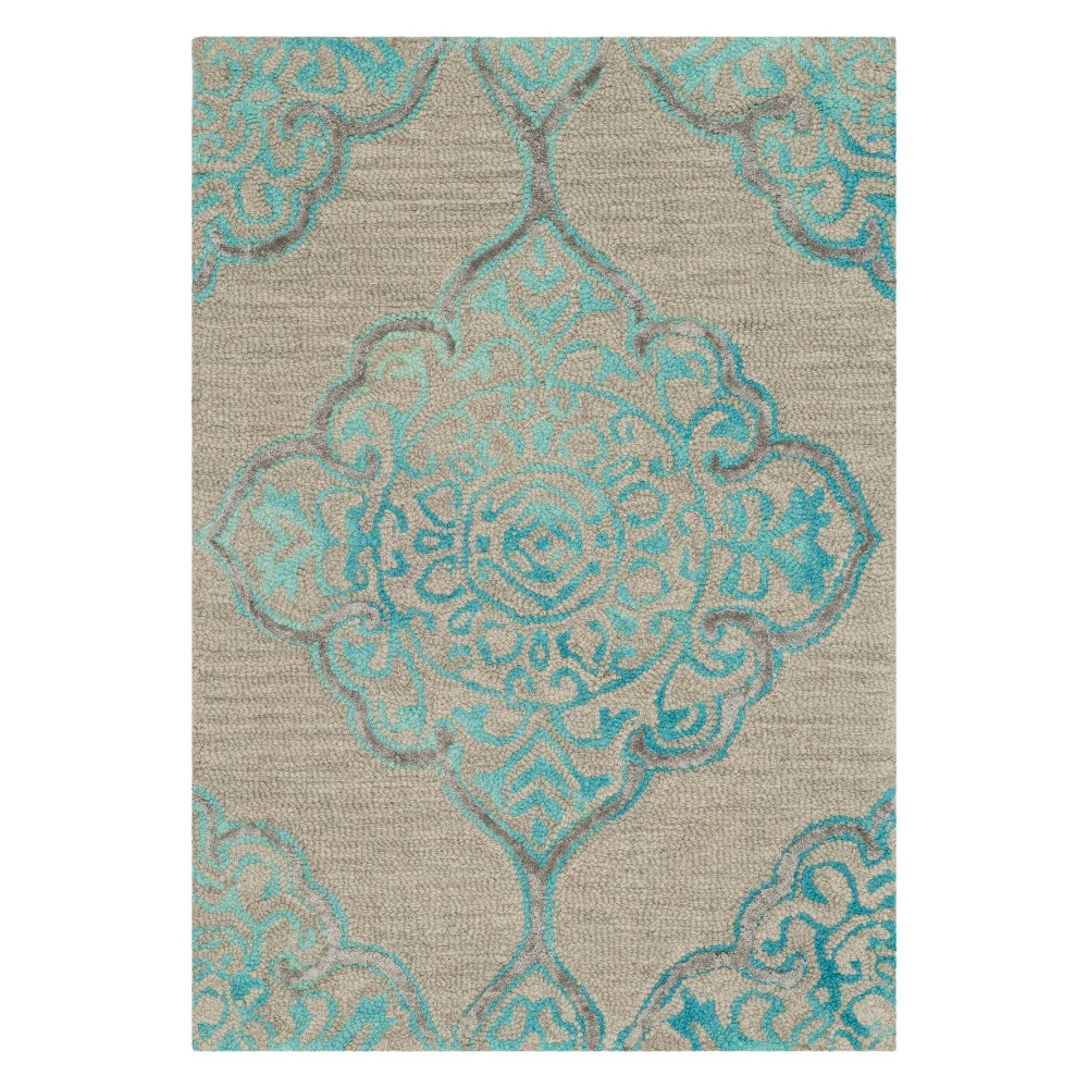 3X5 Medallion Tufted Accent Rug Gray/Turquoise - Safavieh Best