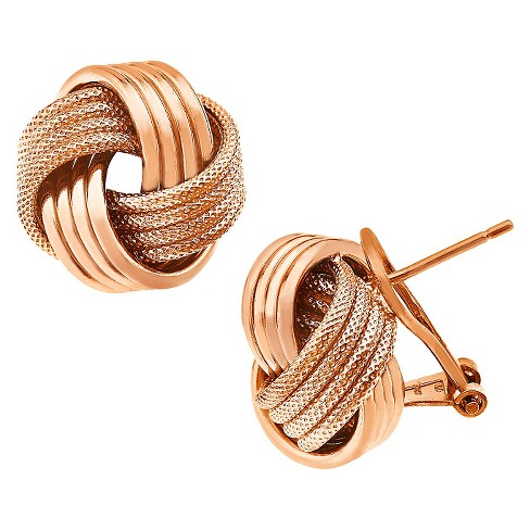1b03a9663 Italian Omega Love Knot Earrings In Rose Gold Over Silver : Target