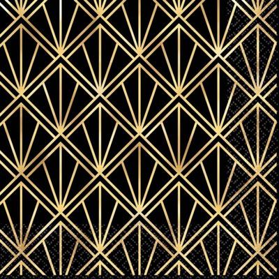 16ct Glitz & Glam Lunch Napkins Gold/Black
